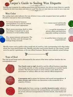A Larper's Guide to Sealing Wax Etiquette, for taking those in-character letter props up a notch. Book Writing Tips, Writing Help, Writing Prompts, Letter Writing, Writing Resources, Larp, Pen & Paper, Pen Pal Letters, Color Meanings