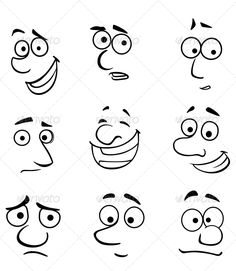 Cartoon Faces with Emotions #GraphicRiver Cartoon faces set with emotions for comics design. Editable EPS8 (you can use any of your vector program) and JPEG (can edit in any graphic editor) files are included SPORTS MASCOTS MEDICINE FOOD LABELS WEDDING ...