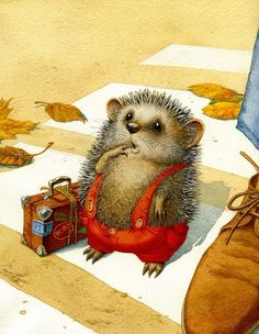 Animals as an endless source of creative inspiration. An exploration of the finest in art, illustration, crafts and design from around the world featuring animals, both real and fantastic. Hedgehog Illustration, Children's Book Illustration, Book Illustrations, Lapin Art, Illustration Mignonne, Art Fantaisiste, Art Mignon, Cute Hedgehog, Hedgehog Art