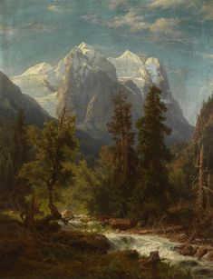 August Wilhelm Leu Mountain Landscape - The Largest Art reproductions Center In Our website. Low Wholesale Prices Great Pricing Quality Hand paintings for saleAugust Wilhelm Leu Sunset Landscape, Mountain Landscape, Landscape Art, Landscape Paintings, Nature Paintings, Oil Paintings, Wooded Landscaping, Hudson River School, Nature