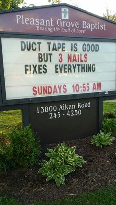 3 nails church sign church sign sayings, funny church signs, church humor, funny Church Sign Sayings, Funny Church Signs, Church Humor, Funny Signs, Funny Church Quotes, Hilarious Sayings, Hilarious Animals, 9gag Funny, Funny Animal