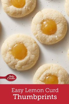 These buttery sugar cookies filled with sweet-tart lemon curd were inspired by our love of lemon, our appreciation for the classic thumbprint and the ever-present need for easy cookies. Lemon Desserts, Lemon Recipes, Köstliche Desserts, Baking Recipes, Sweet Recipes, Delicious Desserts, Dessert Recipes, Yummy Food, Plated Desserts