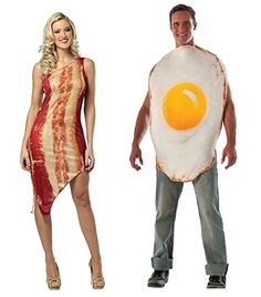 Bacon and Eggs Adult Couple Costumes - Bacon Dress And Fried Egg