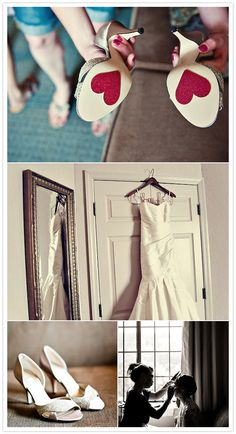 "Hearts on the bottom of shoes are a must, and the hanger with ""bride"" is darling!"