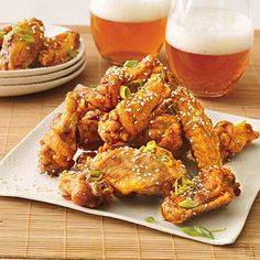 According to reader Cindy Fan of Alhambra, Calif.,Twice-Fried Chicken Wings look (and taste!) just like her favorite restaurant wings. These wings are garnished with sesame seeds and scallions.
