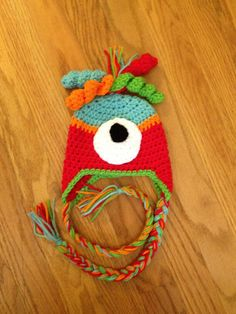 Baby Newborn Monster Beanie Hat Crochet Made to Order Photo Prop Earflaps. $15.00, via Etsy.