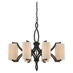 Eight-light chandelier in distressed bronze with cream fabric shades.   Product: ChandelierConstruction Material: Metal and glassColor: Distressed bronze and creamDimensions: 26.5 H x 32 Diameter
