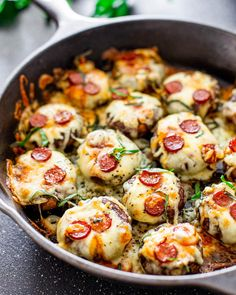 These Pepperoni Pizza Stuffed Mushrooms are so easy and quick to prepare. They make for the perfect appetizer or snack, it's like eating pizza without all those carbs. - sub in grd beef and mushrooms for the pepperoni.