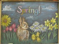 Spring Chalkboard (idea only, broken link) Blackboard Drawing, Blackboard Art, Chalkboard Drawings, Chalk Drawings, Chalkboard Doodles, Chalkboard Designs, Chalkboard Ideas, Bunny Drawing, Wall Drawing