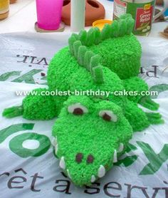 Alligator cake, can do head only using a Christmas tree cake pan.