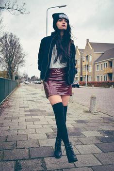 www.streetstylecity.blogspot.com Fashion inspired by the people in the street ootd look outfit sexy leather patent pvc vinyl heels skirt miniskirt latex skirt knee high boots winter fashion bomber jacket