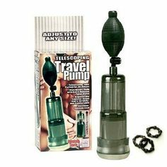 """California Exotics / Swedish Erotica Telescoping Travel Pump Penis Pumps Adult Sex Toy Kit by California Exotic Novelties. $27.46. Handy travel pump with a unique adjustable telescoping tube. Standard bulb with quick release valve. Removable high quality, extra cushioned donut. Flanged cylinder. ABS (cylinder) PVC (bulb) TPR (donut). 3.75"""" x 2.2"""" / 10 cm x 6 cm (travel size). 6"""" x 2.2"""" / 15 cm x 6 cm (extended size)."""