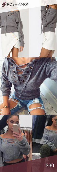 Grey Lace Up sweater *****Fashion Nova for exposure *****  Ships NEXT DAY ⚡️😃📦⚡️ Holds are cool 👍🏽💞 Bundle + Save 15% off 2+ items ➕💱 No trades. Fck all that ⚫️ No paypal. Too confusing ⚫️ Don't call me Hun 👊🏽💥  EVERY OFFER CONSIDERED ... 🎈👀   📲 Like us on Facebook for first dibs on new stuff : Digitalgirl [link in profile] Fashion Nova Sweaters