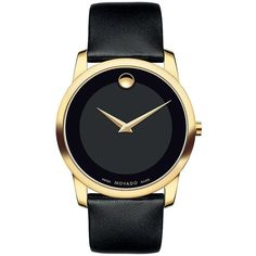 Movado Ladies Museum Classic Gold-Tone Watch (128000 YER) ❤ liked on Polyvore featuring jewelry, watches, black, movado wrist watch, black jewelry, movado, black watches and gold tone jewelry