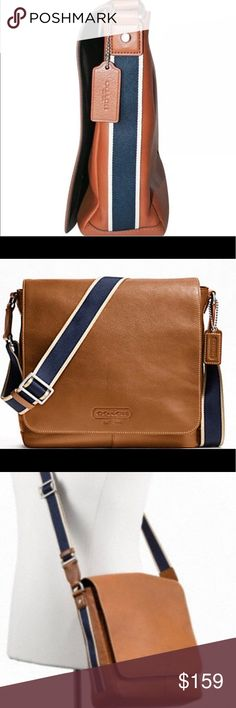 29cc398c2d19 New COACH Heritage web leather messenger bag Authentic New with out tags  Coach heritage web leather