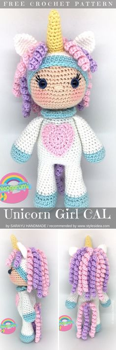 Unicorn Amigurumi Girl CAL Free Crochet Patterns #amigurumiunicorn