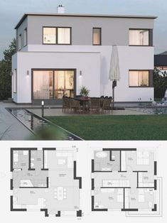 Modern House Plans, House Floor Plans, Flat Roof House, Modern Villa Design, Roof Architecture, Enterprise Architecture, Famous Architecture, Architecture Quotes, Islamic Architecture