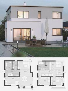 Modern House Plans, House Floor Plans, Exterior Tradicional, Flat Roof House, Modern Villa Design, Roof Architecture, Enterprise Architecture, Famous Architecture, Architecture Quotes