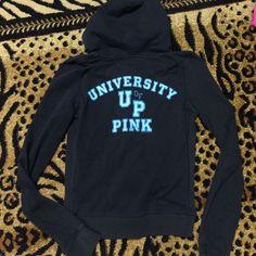 Victoria's Secret black zip up hoodie Victoria's Secret black zip up hoodie. University of pink. Good condition!! PINK Victoria's Secret Tops Sweatshirts & Hoodies