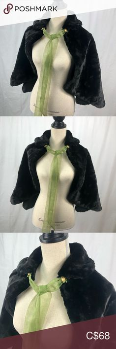 Vintage Faux Fur Capelet for Winter Wedding, Gala Green Tie, Half Circle, Capelet, Plus Fashion, Fashion Tips, Fashion Trends, Vintage Black, Faux Fur, Vintage Ladies