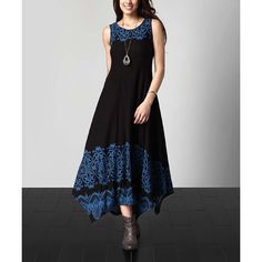 Reborn Collection Black & Blue Lace-Print Sleeveless Handkerchief Maxi... ($40) ❤ liked on Polyvore featuring plus size women's fashion, plus size clothing, plus size dresses, plus size, maxi dresses, long maxi dresses, long dresses and tall maxi dresses