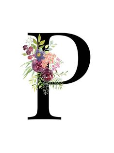 Letter P Floral monogram Printable Letter Nursery Art Tiger Design, Nursery Letters, Nursery Art, Girl Nursery, P Letter Design, Flower Typography, Letter Art, Monogram Letters, Lettering Design