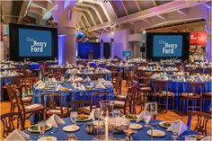 Awesome party setup for a corporate event at the Henry Ford Museum.