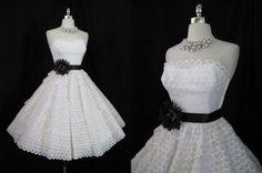 Vtg 50s Eyelet Lace Bombshell Party Wedding Dress XS/S