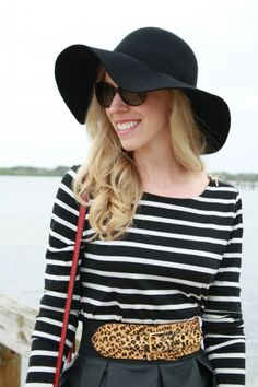 Winter Nautical: black and white striped tee, leopard belt, leather skirt, black wool floppy hat