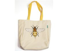 Big tote bag with bee - perfect for a spring time!