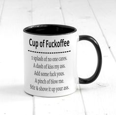 funny coffee mugs Cup of Fuckoffee. Funny Coffee Mug Funny and Rude Gift Funny Coffee Mugs, Coffee Humor, Funny Mugs, Coffee Mug Sayings, Coffee Geek, Coffee Mug Holder, Coffee Cups, Tea Cups, Coffee Coffee