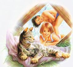 PEINTURES MARCEL MARLIER Marcel, Illustration Photo, Illustrations, Cartoon Pics, Cute Cartoon, Crazy Cat Lady, Crazy Cats, Kids Playing Doctor, Kittens Cutest Baby