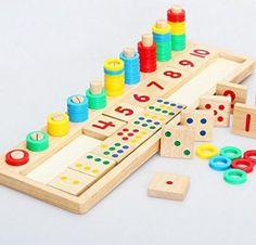 Hibote Kids Count de madera y números coinciden con juego de los juguetes, educativos tempranos de aprendizaje Building Blocks Juguetes para Niños (16.92 X 5.51 X 1.177 pulgadas)