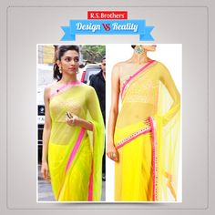 Design Vs Reality! Bollywood  Dashing actress #DeepikaPadukone  in designer parrot green & yellow mixed color plain net #Saree with pink border by mirror embroidery work and also with cool Pink sleeveless blouse with full of embroidery mirror thread work. This beautiful saree gives more attractive & attention look to her.  (Image copyrights belong to their respective owners)