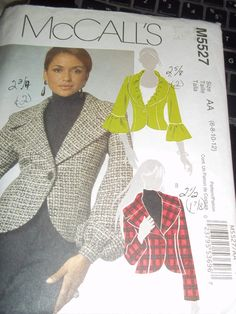 McCalls M5527  Misses size 6 8 10 12  Bust 30 1/2 to 34  Jacket Pattern    semi fitted, lined jacket has front and back darts,single button