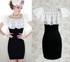 OL Elegant Kawaii Fashion Dolly sweet Cute Short Sleeve Lace Slim Dress S~XL