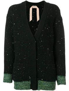 wool-blend Cardigan With Sequins - Farfetch N21, Black Wool, Wool Blend, Luxury Fashion, Women Wear, Men Sweater, Sequins, Sweaters, Fashion Design
