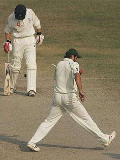 Afridi tries to scuff the pitch when he thinks no one is looking. v. England at Faisalabad, '05.