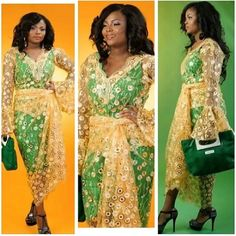 Green dress layered with gold lace Nigerian wedding bride