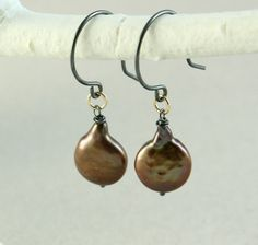 Brown++Pearl+Earrings+++++Mixed+Metal+Jewelry+Oxidized+by+Hildes