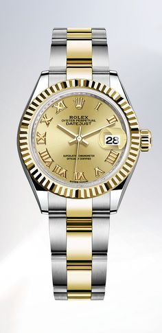 The Rolex Lady-Datejust 28 Rolesor, combining 18 ct yellow gold and 904L steel, with a champagne-colour dial, a fluted bezel and an Oyster bracelet.