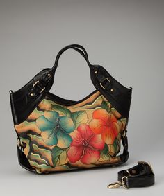 Black & Blue Wild Hibiscus Satchel