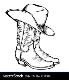 Drawings Ideas Clipart of Cowboy boots and hat.Vector graphic illustration isolated - Search Clip Art, Illustration Murals, Drawings and Vector EPS Graphics Images - - Cowboy boots and hat. Cowboy Hat Drawing, Cowboy Draw, Cowboy Hat Tattoo, Cowgirl Tattoos, Wood Burning Patterns, Wood Burning Art, Wood Burning Stencils, Adult Coloring Pages, Coloring Books