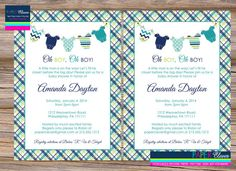 Boys Baby Shower Invitation onsie clothesline plaid by paperclever, $12.00