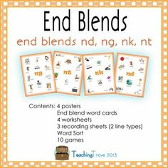 Consolidate end blends in an enjoyable way with this pack that focuses on nd, ng, nk, and nt.  Included in the pack:  4 posters - one for each blend  End blend word cards - 117 in total   4 worksheets - one for each blend  3 recording sheets (2 line types) for using with the posters and word sort  Word Sort   10 games