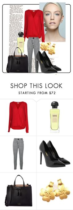 """work"" by fashionista-763 on Polyvore featuring Velvet by Graham & Spencer, Hermès, Alexander Wang, Yves Saint Laurent, Kate Spade and Chanel"