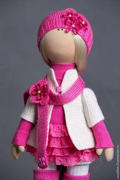 Купить Просто Юленька (повтор) - фуксия, текстильная кукла, ручная работа, ручное вязание