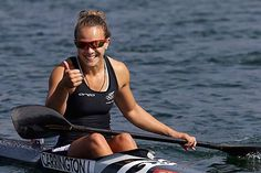 New Zealand's Lisa Carrington winning the gold medal in the kayak single 200m