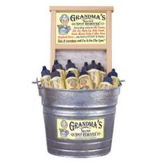 Grandmas Secret Spot Remover is environmentally safe biodegradable non-toxic and contains no chlorine or phosphates. Stain remover for all types of clothing upholstery and carpet. Just a drop is all it takes to remove oil grease paint make-up grass ink blood baby formula and much more. Apply small amount to stain rub it and rinse.
