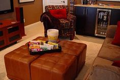 DIY Home Theater Media Room seating 4 cubed ottomans… elevated feet, extra seating, table top